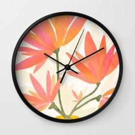 Bright Blooms / Floral Painting Wall Clock