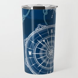 Navy Blue Nautical Pattern Travel Mug