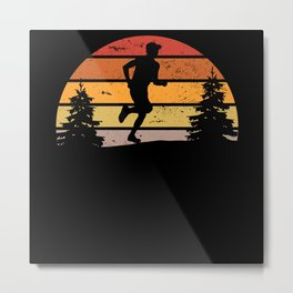 Retro Sunset Running Marathon Runner Gift Metal Print