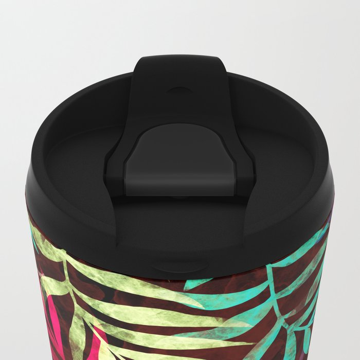 Watercolor Tropical Palm Leaves IV Metal Travel Mug
