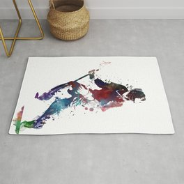Lacrosse player art 3 Rug