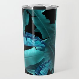 tropical banana leaves pattern turquoise 2 Travel Mug