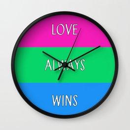 Love Always Wins (Polysexual Flag) Wall Clock