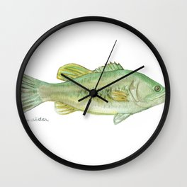 Largemouth Bass Watercolor Wall Clock