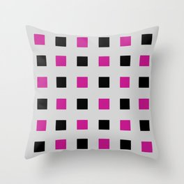 Geometric abstraction: cerise and black squares on gray (grey) Throw Pillow