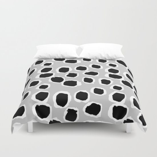 Tess - black and white grey minimal modern abstract dots painting brushstrokes free spirit ink  Duvet Cover