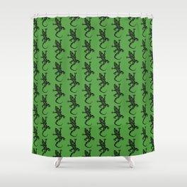 Green Gecko Pattern Shower Curtain