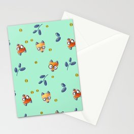 Foxy Nerd Pattern Stationery Cards