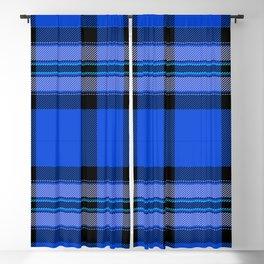 Argyle Fabric Plaid Pattern Blue and Black Blackout Curtain