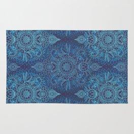 Aqua, Cobalt Blue & Purple Protea Doodle Pattern Rug