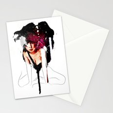 Ringu Woman Illustration in Mixed Digital Media Stationery Cards