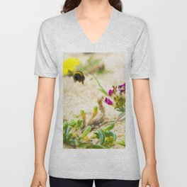 the flight of bumble bee on the bunes Unisex V-Neck