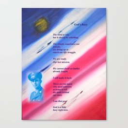 """""""Moon Over The Republic"""" with poem: """"God's Busy"""" Canvas Print"""