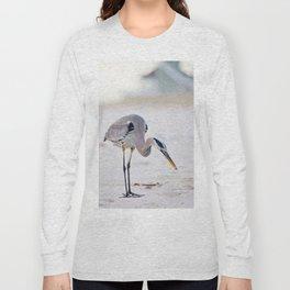 Blue Heron on the Beach Long Sleeve T-shirt