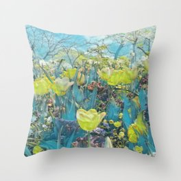 GALATHI Flower Spring is Here Green - Flowers Throw Pillow