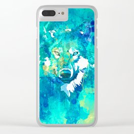Teal yellow hand painted watercolor wolf Clear iPhone Case