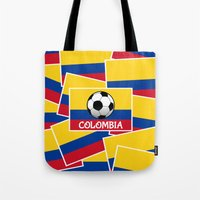 colombia Tote Bags featuring Colombia Football by mailboxdisco