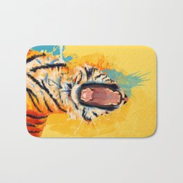 Wild Yawn - Tiger portrait Bath Mat