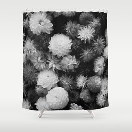 In Bloom (Black and White) Shower Curtain