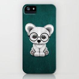 Cute Polar Bear Cub with Eye Glasses on Teal Blue iPhone Case