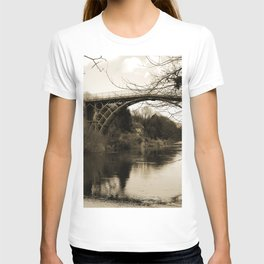 Worlds First Ironbridge over River Severn in England in sepia T-shirt