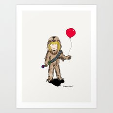 Girl in Chewie Costume Art Print