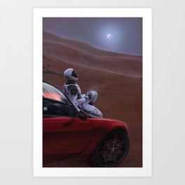 Red Car for the Red Planet Art Print