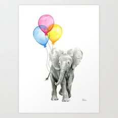 Baby Elephant with Balloons Nursery Animals Prints Whimsical Animal Art Print