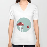 mushrooms V-neck T-shirts featuring mushrooms by liva cabule