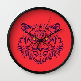 Red/Blue Tiger by #Bizzartino Wall Clock