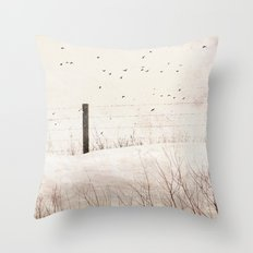 Roadside fence Throw Pillow