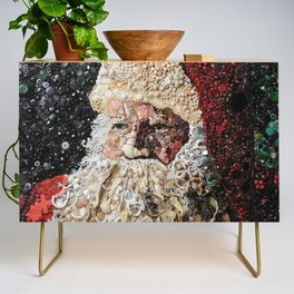 Santa Made from Shells- Buttons- Beads Credenza