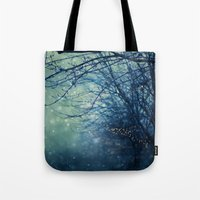 silent Tote Bags featuring Silent Night  by Laura Ruth