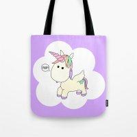 poop Tote Bags featuring Unicorn Poop by Stephanie Keyes Design