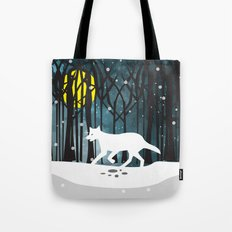 White Wolf at Midnight Tote Bag