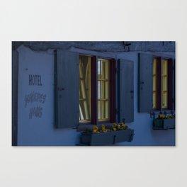 Hotel crooked house Fischer quarter Ulm Canvas Print