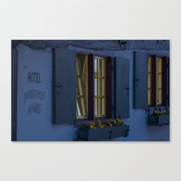 Hotel crooked house Fischer quarter Ulm Canvas Print