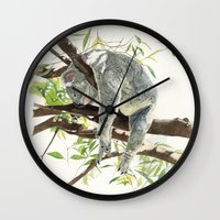 koala Wall Clocks featuring Koala by Patrizia Donaera ILLUSTRATIONS