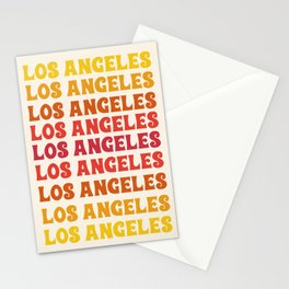 Los Angeles - retro vibes throwback minimal typography 70s colors 1970's LA Stationery Cards