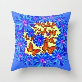 Orange Butterflies Blue  Floral Wreath art Throw Pillow