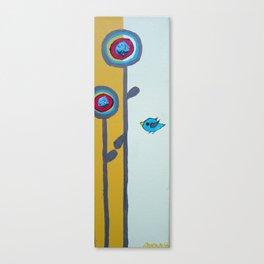 Blu Bird Bloom Canvas Print