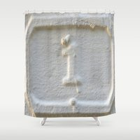 number Shower Curtains featuring number one by habish
