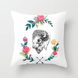 Floral Bison Throw Pillow