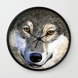 Eyes of the Wolf Wall Clock