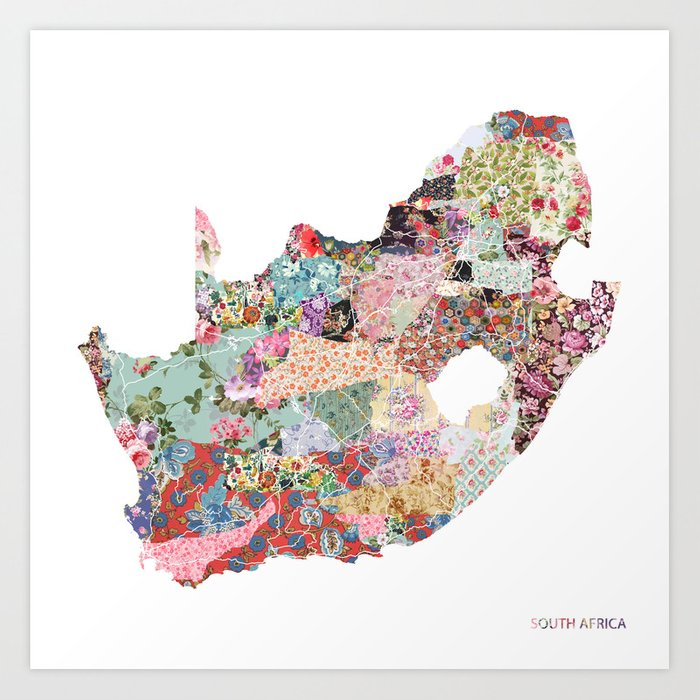 Africa Map Art South africa map Art Print by poeticmaps | Society6