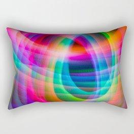 Spirograph rainbow light painting Rectangular Pillow