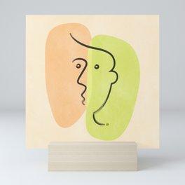 Head Line (line art face) Mini Art Print