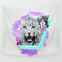 fierce Wall Tapestries featuring Fierce Leopard by Kangarui by Rui Stalph