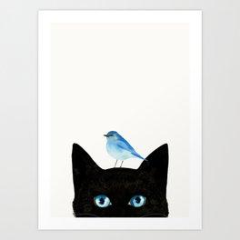 Cat and Bird Art Print