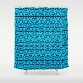 Triangles in triangles on Blue Shower Curtain